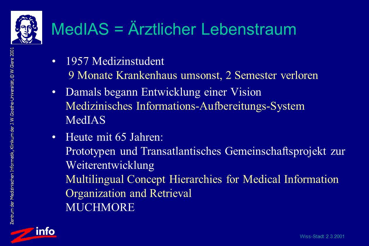 Wiss-Stadt 2.3.2001 Zentrum der Medizinischen Informatik, Klinikum der J.W.Goethe-Universität, © W.Giere 2001 Wechselbeziehungen Patient, Arzt und Wissenschaft: MedIAS allg.