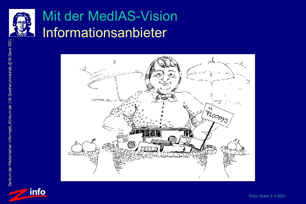 Wiss-Stadt 2.3.2001 Zentrum der Medizinischen Informatik, Klinikum der J.W.Goethe-Universität, © W.Giere 2001 Mit der MedIAS-Vision Informationsanbieter