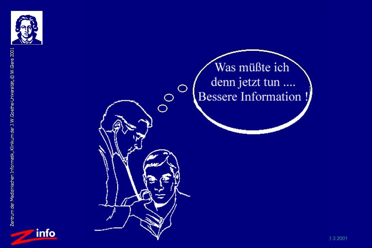 Wiss-Stadt 2.3.2001 Zentrum der Medizinischen Informatik, Klinikum der J.W.Goethe-Universität, © W.Giere 2001 Vision: Bessere Information für Arzt durch IT AUTOMATISCH: Durch Informationsagenten, ohne Belastung des Arztes RICHTIG: Gezielt für das Problem des Patienten ausgesucht, relevant ZUM RICHTIGEN ZEITPUNKT: Verfügbar unmittelbar zur Behandlungsentscheidung AKTUELL: Immer neueste Erkenntnisse zum aktuellen Problem ADÄQUAT : Selektiert für das individuelle Bedarfsprofil des Arztes, Übersichten für den einen, Originalartikel für den anderen