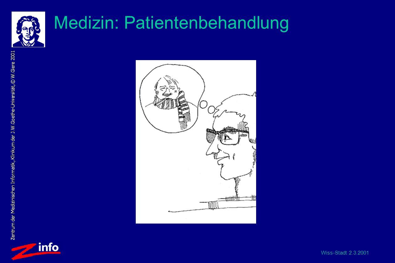 Wiss-Stadt 2.3.2001 Zentrum der Medizinischen Informatik, Klinikum der J.W.Goethe-Universität, © W.Giere 2001 Medizin: Patientenbehandlung
