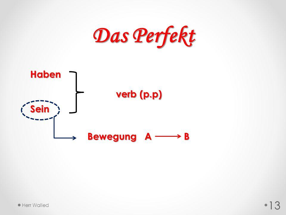 Haben verb (p.p) Sein Bewegung A B Das Perfekt 13 Herr Walled