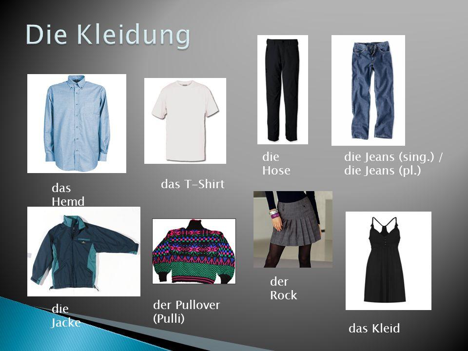 das Hemd das T-Shirt die Hose die Jeans (sing.) / die Jeans (pl.) die Jacke der Pullover (Pulli) der Rock das Kleid