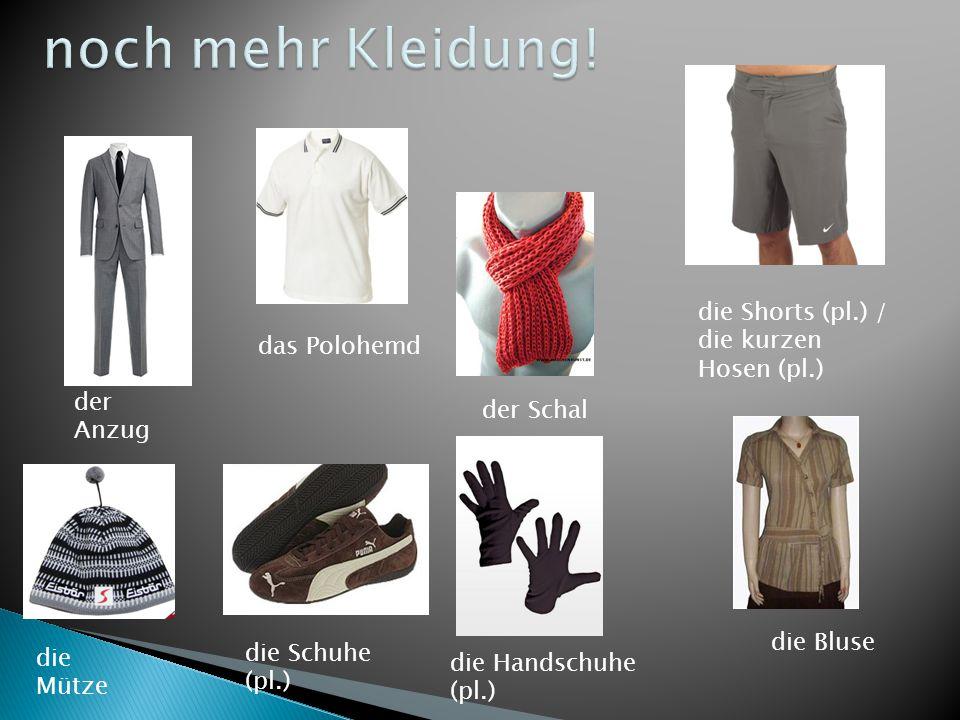 der Anzug das Polohemd der Schal die Shorts (pl.) / die kurzen Hosen (pl.) die Mütze die Schuhe (pl.) die Handschuhe (pl.) die Bluse