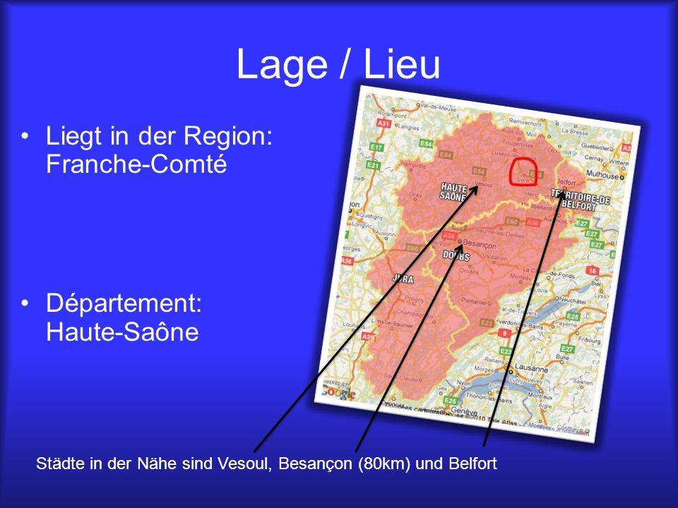 Lage / Lieu Liegt in der Region: Franche-Comté Département: Haute-Saône Städte in der Nähe sind Vesoul, Besançon (80km) und Belfort