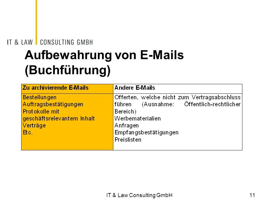 Aufbewahrung von E-Mails (Buchführung) 11IT & Law Consulting GmbH