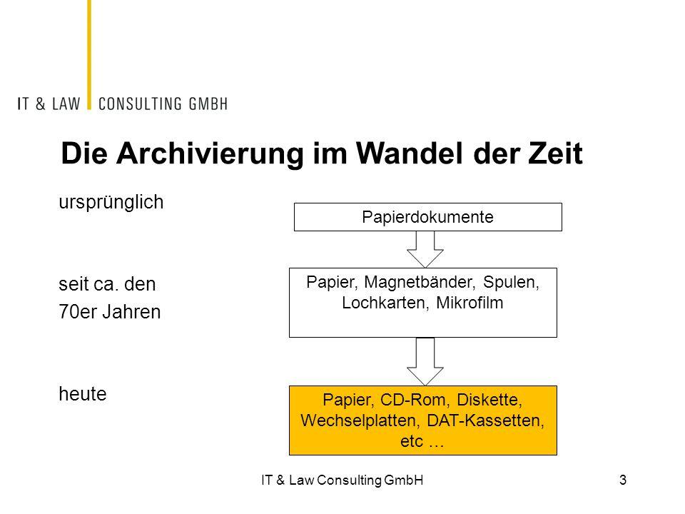 IT & Law Consulting GmbH34 Beweiskraft des elektronischen Belegs  Gemäss einer Stellungnahme des Eidgenössischen Finanzdepartementes ist die Vernichtung des Originalbeleges unter Beachtung der gesetzlichen Vorgaben zwar erlaubt.