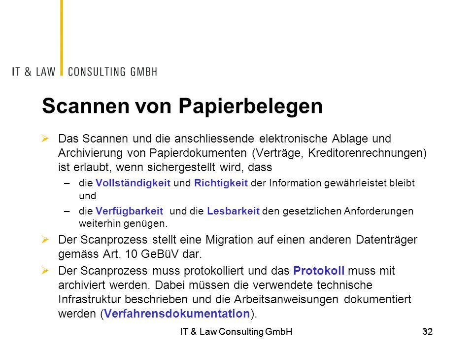 IT & Law Consulting GmbH32 Scannen von Papierbelegen  Das Scannen und die anschliessende elektronische Ablage und Archivierung von Papierdokumenten (