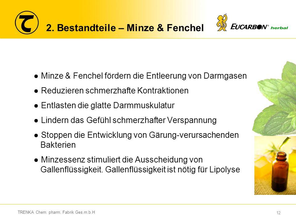 12 TRENKA Chem. pharm. Fabrik Ges.m.b.H 2. Bestandteile – Minze & Fenchel ●Minze & Fenchel fördern die Entleerung von Darmgasen ●Reduzieren schmerzhaf