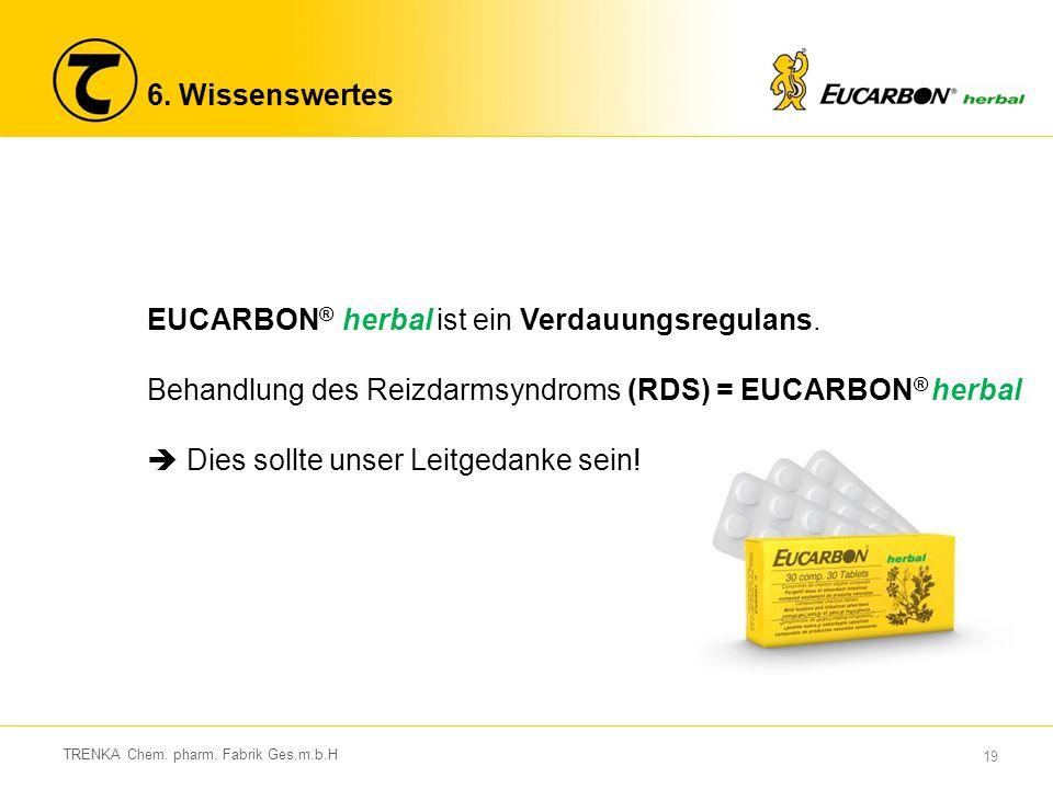 19 TRENKA Chem. pharm. Fabrik Ges.m.b.H 6. Wissenswertes EUCARBON ® herbal ist ein Verdauungsregulans. Behandlung des Reizdarmsyndroms (RDS) = EUCARBO