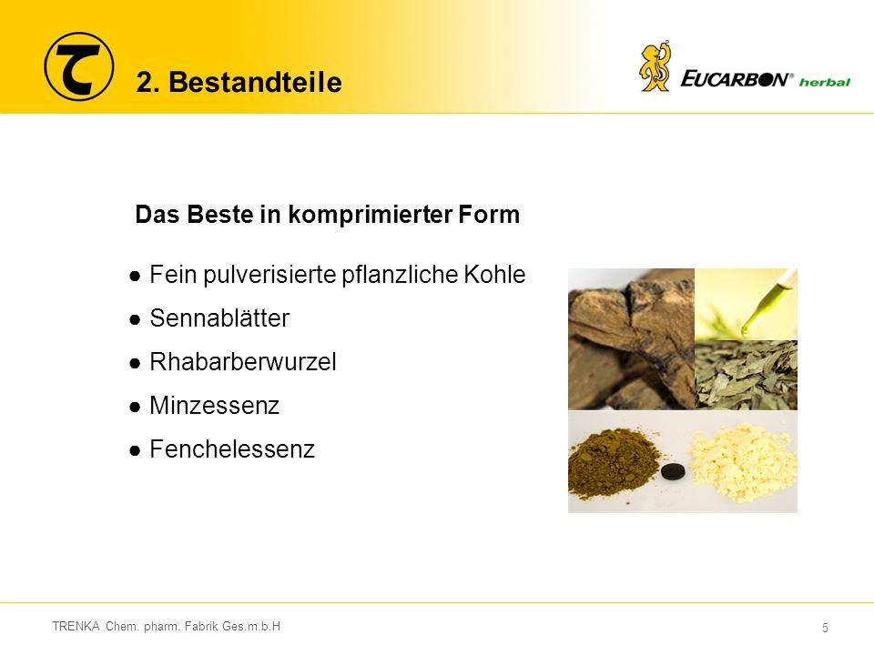 5 2. Bestandteile Das Beste in komprimierter Form ●Fein pulverisierte pflanzliche Kohle ●Sennablätter ●Rhabarberwurzel ●Minzessenz ●Fenchelessenz
