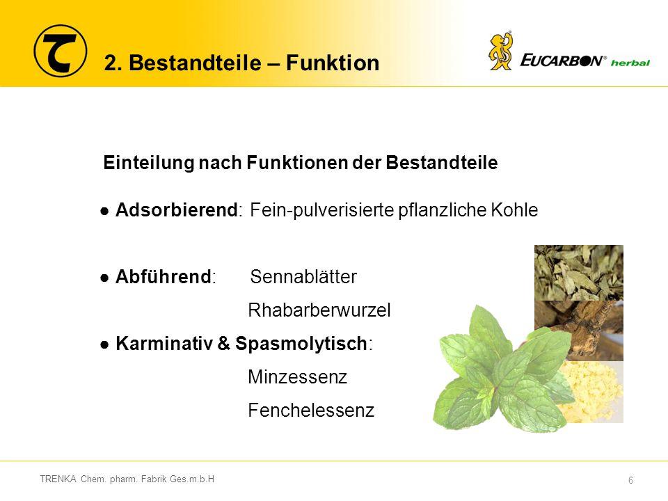6 TRENKA Chem. pharm. Fabrik Ges.m.b.H 2. Bestandteile – Funktion Einteilung nach Funktionen der Bestandteile ●Adsorbierend:Fein-pulverisierte pflanzl