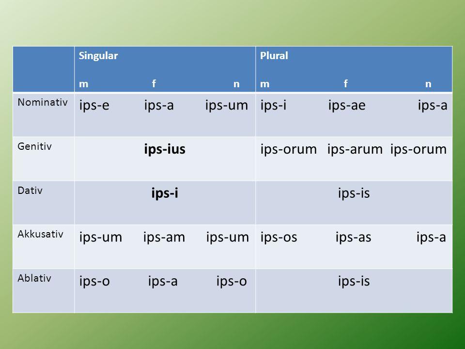 Singular m f n Plural m f n Nominativ ips-e ips-a ips-umips-i ips-ae ips-a Genitiv ips-iusips-orum ips-arum ips-orum Dativ ips-iips-is Akkusativ ips-u