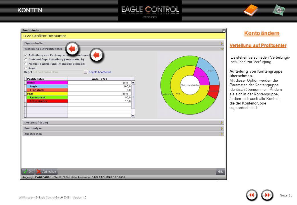 Willi Nusser – © Eagle Control GmbH 2008 Version 1.0 KONTEN Seite 12 Konto ändern Eigenschaften Eigenschaften Mit den Kopfdaten nehmen Sie folgende Einstellungen vor: Konto-Nr.