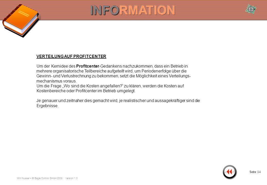 Willi Nusser – © Eagle Control GmbH 2008 Version 1.0 KONTEN Seite 13 Konto ändern Verteilung auf Profitcenter Aufteilung von Kontengruppe übernehmen.