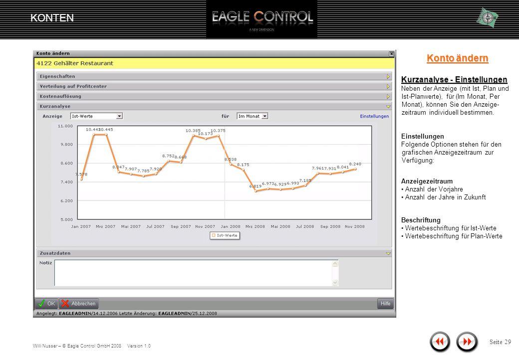 Willi Nusser – © Eagle Control GmbH 2008 Version 1.0 KONTEN Seite 28 Plan-Werte Plan-Ist-Werte Ist-Werte Konto ändern Kurzanalyse Zeigt eine grafische Übersicht über einen bestimmten Zeitraum.
