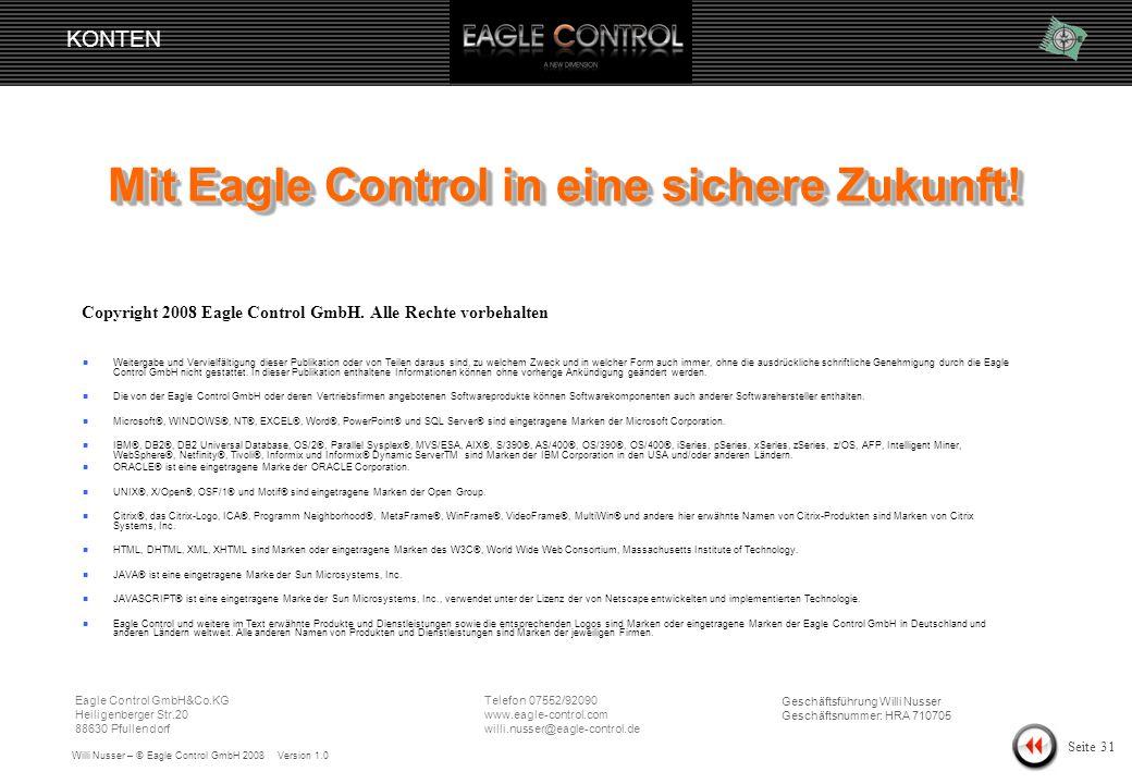 Willi Nusser – © Eagle Control GmbH 2008 Version 1.0 KONTEN Seite 30 Konto ändern Zusatzdaten Das Notizfeld eignet sich um Veränderungen festzuhalten.