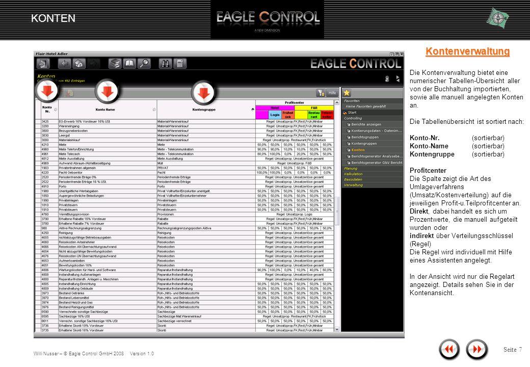Willi Nusser – © Eagle Control GmbH 2008 Version 1.0 KONTEN Seite 6 Navigation Die Kontenverwaltung befindet sich unter der Rubrik Start/Controlling/Konten