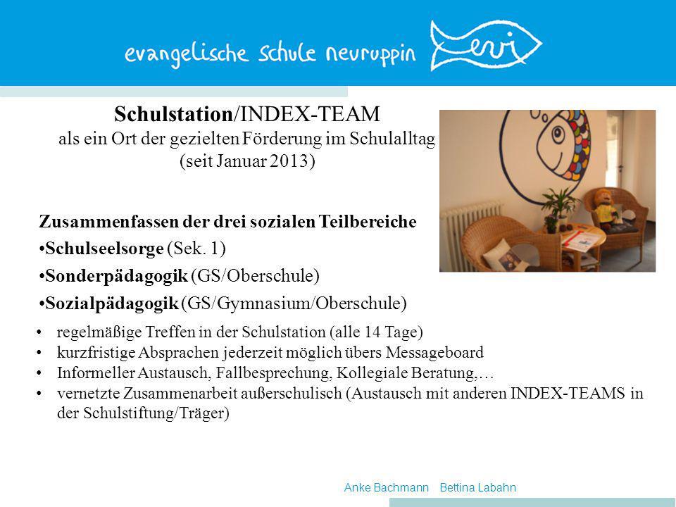 Schulstation/INDEX-TEAM als ein Ort der gezielten Förderung im Schulalltag (seit Januar 2013) Zusammenfassen der drei sozialen Teilbereiche Schulseelsorge (Sek.