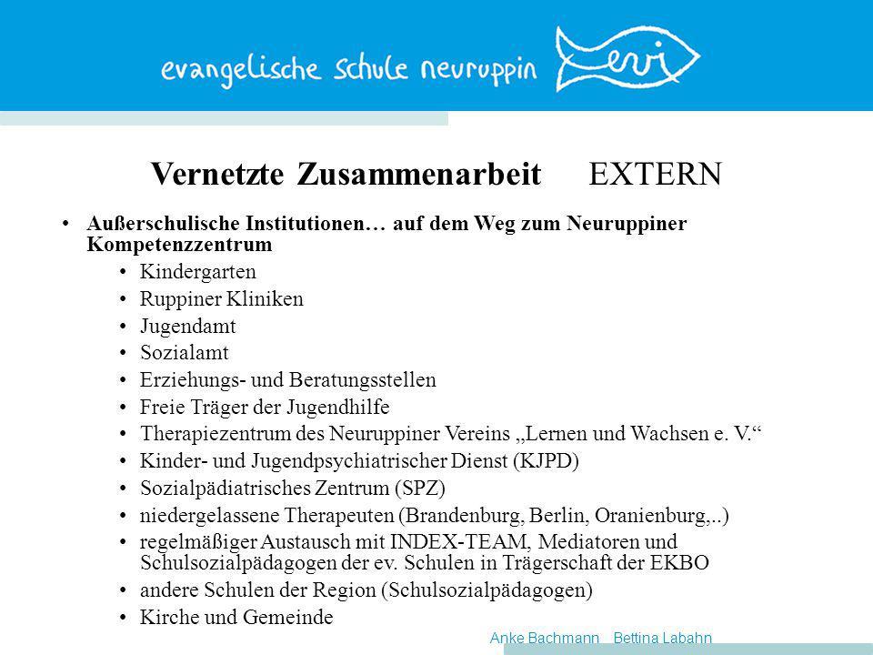 Vernetzte Zusammenarbeit EXTERN Außerschulische Institutionen… auf dem Weg zum Neuruppiner Kompetenzzentrum Kindergarten Ruppiner Kliniken Jugendamt S
