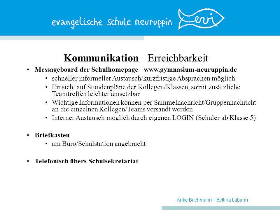 KommunikationErreichbarkeit Messageboard der Schulhomepage www.gymnasium-neuruppin.de schneller informeller Austausch/kurzfristige Absprachen möglich
