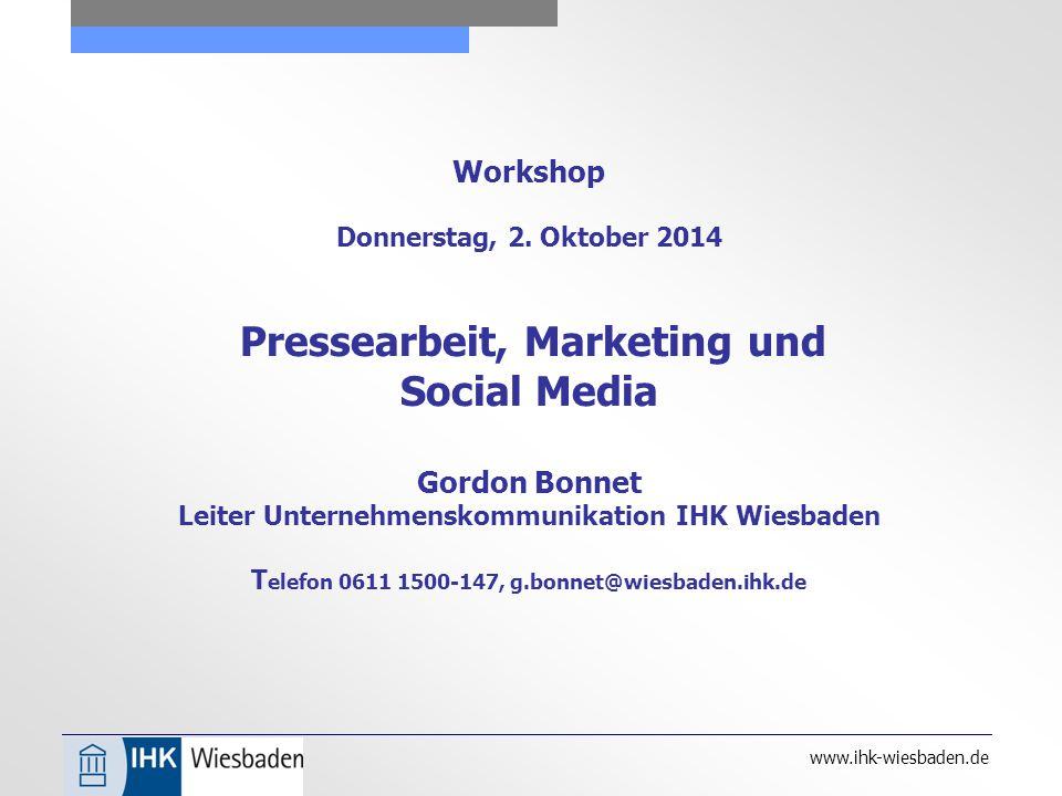 www.ihk-wiesbaden.de Workshop Donnerstag, 2.