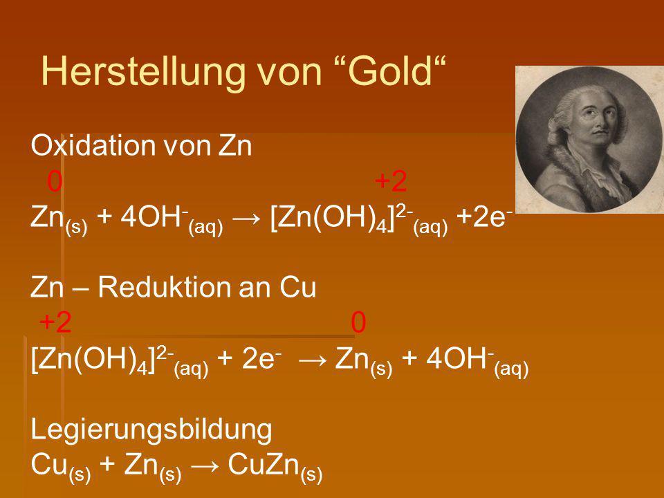 Oxidation von Zn 0 +2 Zn (s) + 4OH - (aq) → [Zn(OH) 4 ] 2- (aq) +2e - Zn – Reduktion an Cu +2 0 [Zn(OH) 4 ] 2- (aq) + 2e - → Zn (s) + 4OH - (aq) Legie