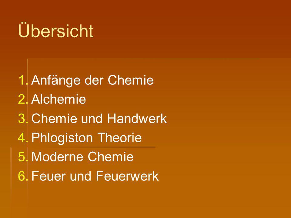 Übersicht 1. 1.Anfänge der Chemie 2. 2.Alchemie 3. 3.Chemie und Handwerk 4. 4.Phlogiston Theorie 5. 5.Moderne Chemie 6. 6.Feuer und Feuerwerk