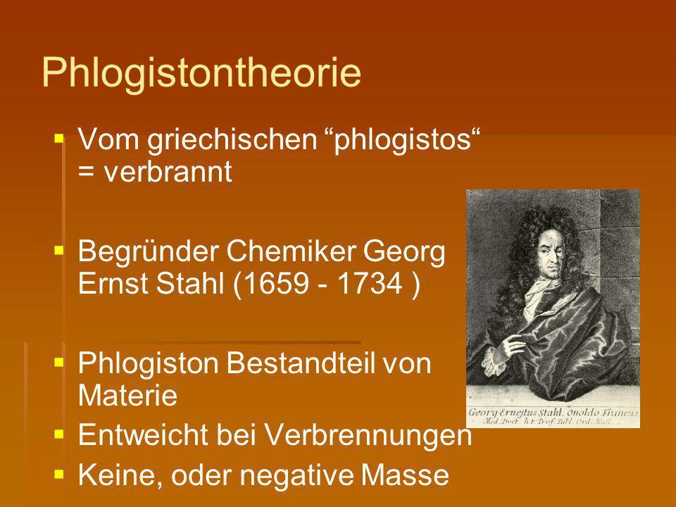 """Phlogistontheorie   Vom griechischen """"phlogistos"""" = verbrannt   Begründer Chemiker Georg Ernst Stahl (1659 - 1734 )   Phlogiston Bestandteil von"""