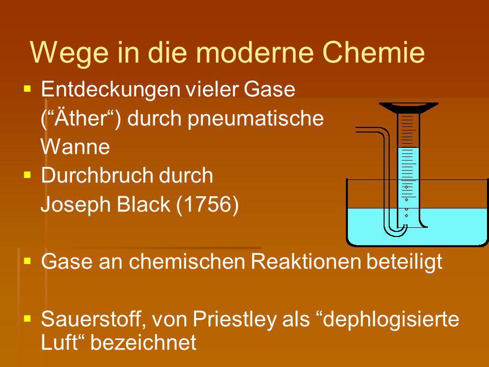"""Wege in die moderne Chemie   Entdeckungen vieler Gase (""""Äther"""") durch pneumatische Wanne   Durchbruch durch Joseph Black (1756)   Gase an chemis"""