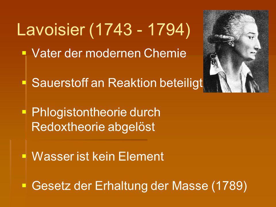 Lavoisier (1743 - 1794)   Vater der modernen Chemie   Sauerstoff an Reaktion beteiligt   Phlogistontheorie durch Redoxtheorie abgelöst   Wasse