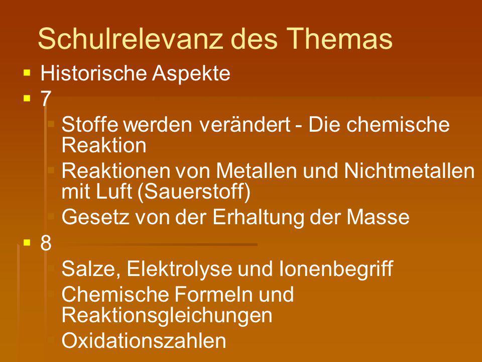 Schulrelevanz des Themas   Historische Aspekte   7   Stoffe werden verändert - Die chemische Reaktion   Reaktionen von Metallen und Nichtmetal