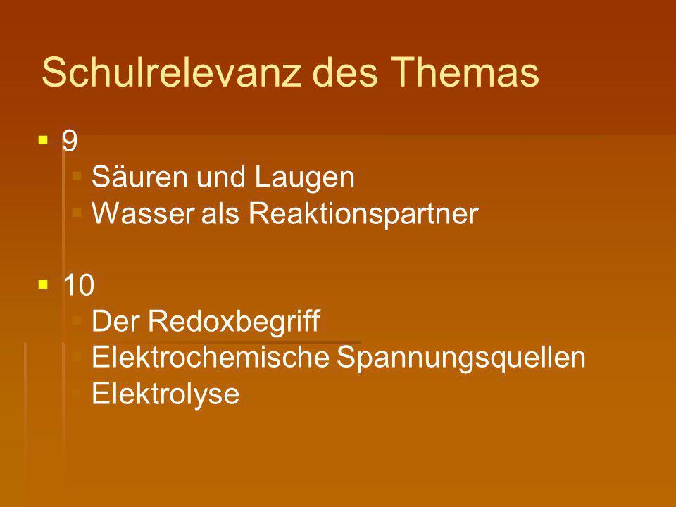 Schulrelevanz des Themas   9   Säuren und Laugen   Wasser als Reaktionspartner   10   Der Redoxbegriff   Elektrochemische Spannungsquellen
