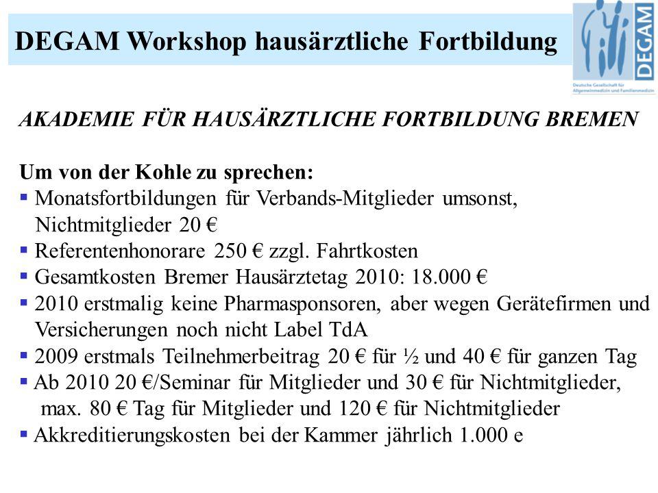 DEGAM Workshop hausärztliche Fortbildung AKADEMIE FÜR HAUSÄRZTLICHE FORTBILDUNG BREMEN Um von der Kohle zu sprechen:  Monatsfortbildungen für Verbands-Mitglieder umsonst, Nichtmitglieder 20 €  Referentenhonorare 250 € zzgl.