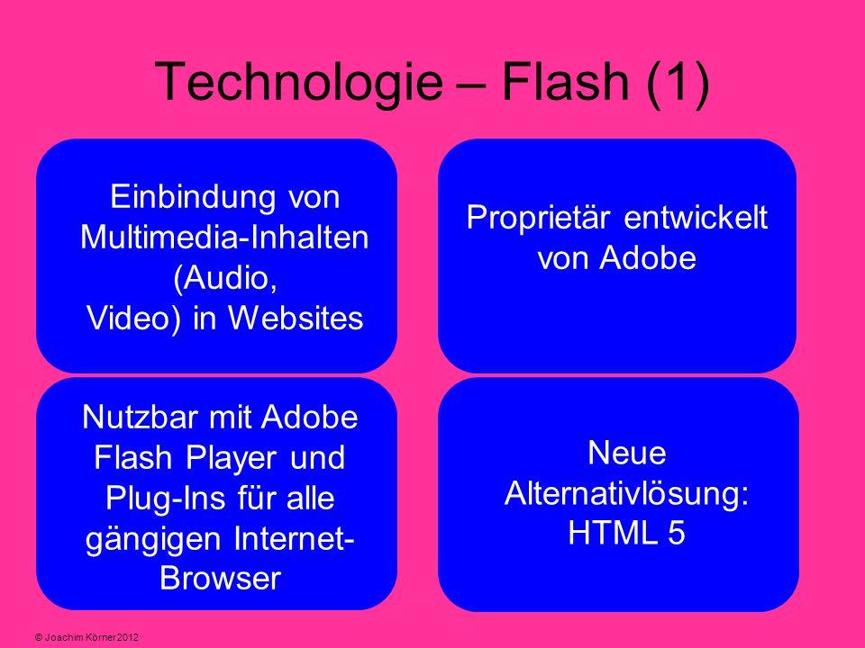 Technologie – Flash (1) Einbindung von Multimedia-Inhalten (Audio, Video) in Websites Proprietär entwickelt von Adobe Nutzbar mit Adobe Flash Player und Plug-Ins für alle gängigen Internet- Browser Neue Alternativlösung: HTML 5 © Joachim Körner 2012