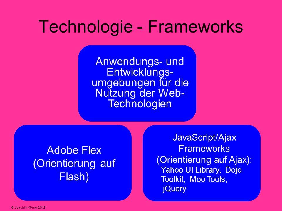 Technologie - Frameworks Anwendungs- und Entwicklungs- umgebungen für die Nutzung der Web- Technologien Adobe Flex (Orientierung auf Flash) JavaScript/Ajax Frameworks (Orientierung auf Ajax): Yahoo UI Library, Dojo Toolkit, Moo Tools, jQuery © Joachim Körner 2012