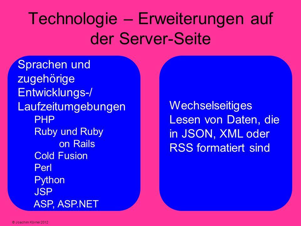 Technologie – Erweiterungen auf der Server-Seite Sprachen und zugehörige Entwicklungs-/ Laufzeitumgebungen PHP Ruby und Ruby on Rails Cold Fusion Perl Python JSP ASP, ASP.NET Wechselseitiges Lesen von Daten, die in JSON, XML oder RSS formatiert sind © Joachim Körner 2012
