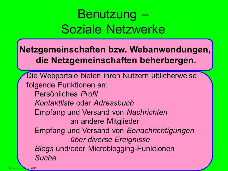 Benutzung – Soziale Netzwerke Netzgemeinschaften bzw.