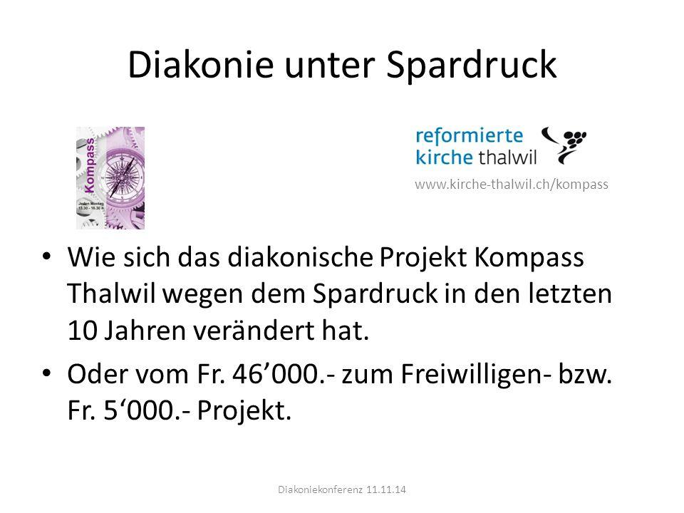 Diakonie unter Spardruck www.kirche-thalwil.ch/kompass Wie sich das diakonische Projekt Kompass Thalwil wegen dem Spardruck in den letzten 10 Jahren verändert hat.