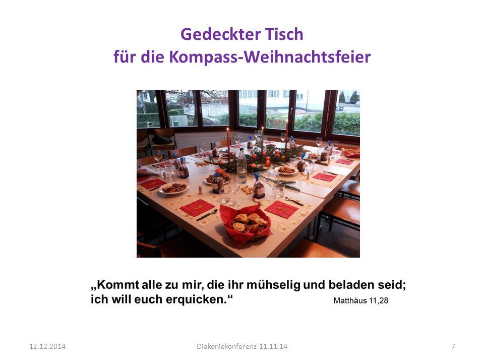 Gedeckter Tisch für die Kompass-Weihnachtsfeier 12.12.2014Diakoniekonferenz 11.11.147
