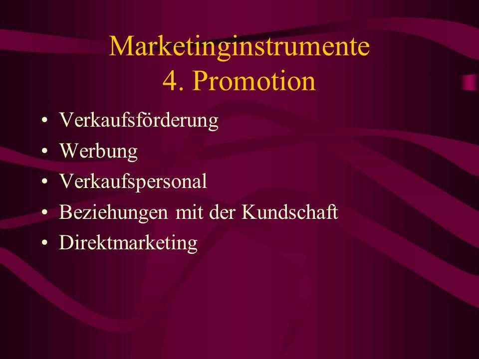 Marketinginstrumente 3. Platz der Distribution Aufgabe der Distribution: Vertrieb der Güter vom Hersteller zum Endabnehmer (zum Verbraucher) Wichtig: