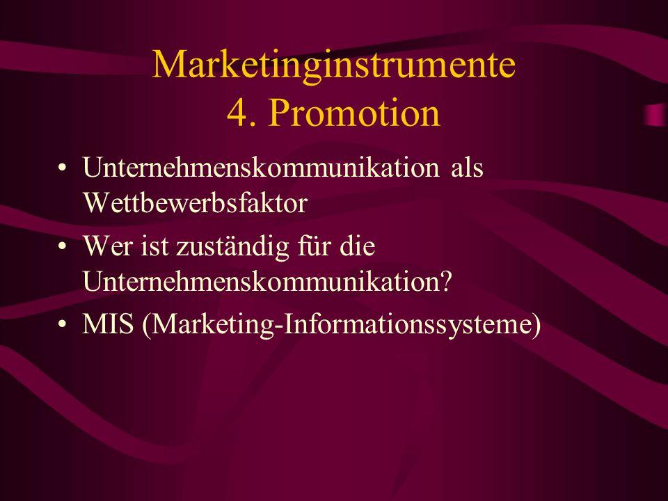 Marketinginstrumente 4. Promotion Verkaufsförderung Werbung Verkaufspersonal Beziehungen mit der Kundschaft Direktmarketing