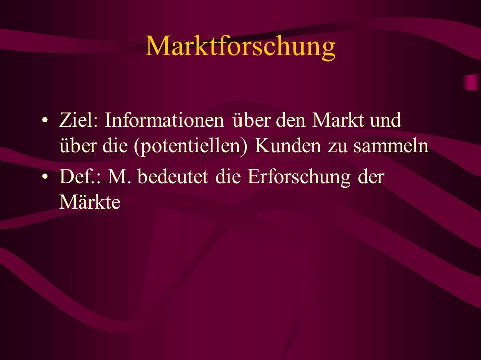 Marketingtforschung Ziel: Möglichkeiten zur Beeinflussung der Märkte und damit der Kundenwünsche zu ermitteln Def.: ein Verfahren: das systematische S