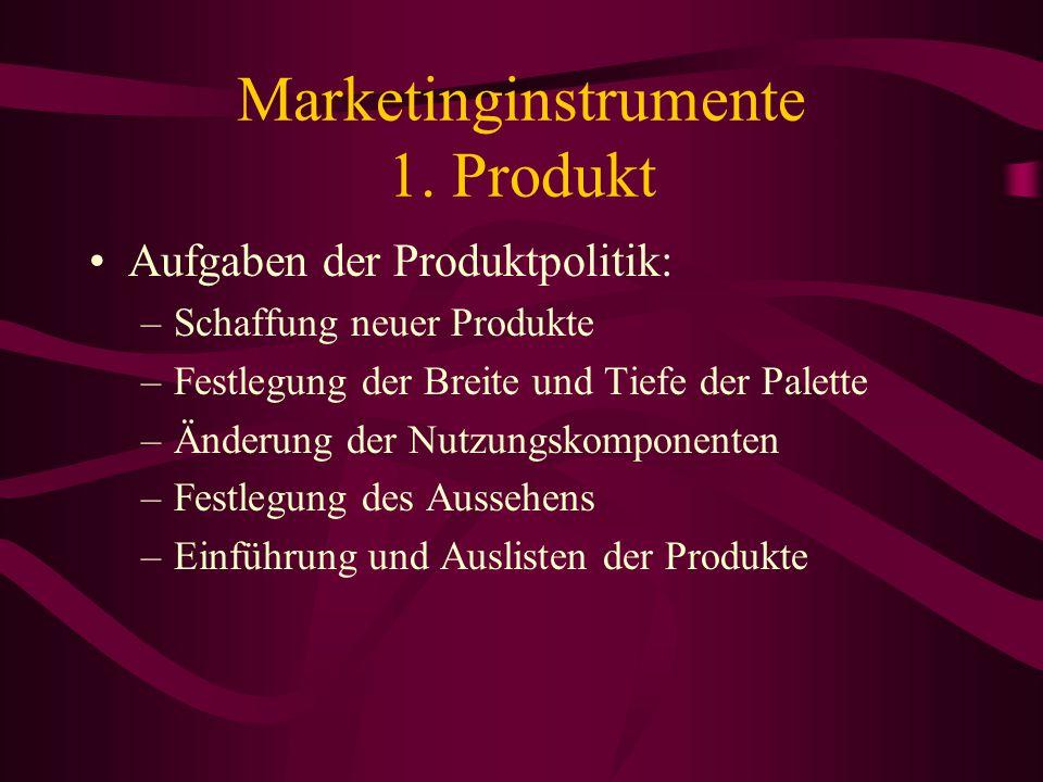 Marketinginstrumente 1. Produkt Produktpolitik: alle Maßnamen, die der Gestaltung des einzelnen Produktes (Funktion, Form, Verpackung) sowie des Güter