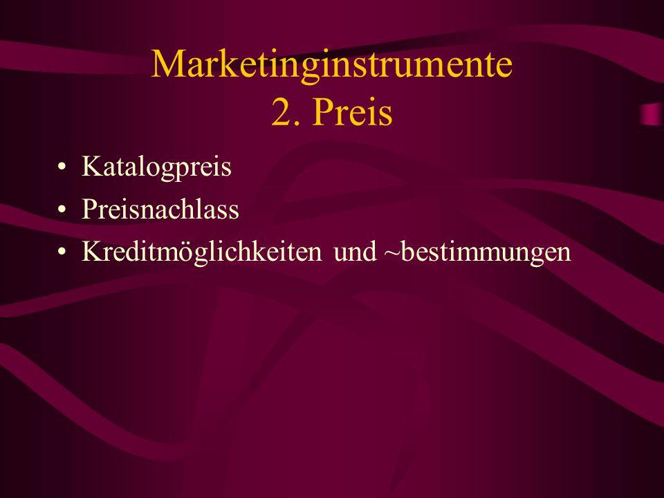 Marketinginstrumente 1. Produkt Aufgaben der Produktpolitik: –Schaffung neuer Produkte –Festlegung der Breite und Tiefe der Palette –Änderung der Nutz