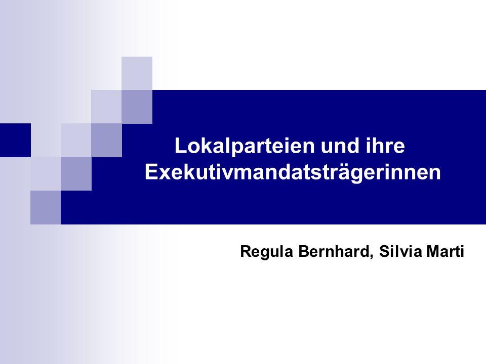 Lokalparteien und ihre Exekutivmandatsträgerinnen Regula Bernhard, Silvia Marti