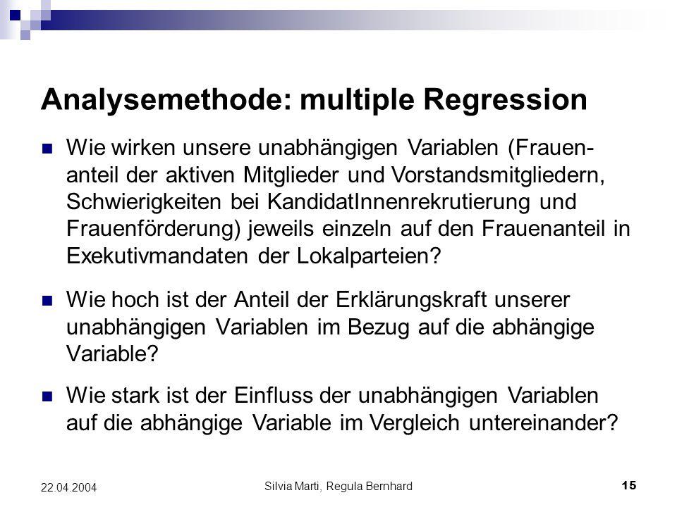 Silvia Marti, Regula Bernhard15 22.04.2004 Analysemethode: multiple Regression Wie hoch ist der Anteil der Erklärungskraft unserer unabhängigen Variablen im Bezug auf die abhängige Variable.