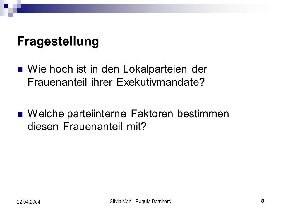 Silvia Marti, Regula Bernhard8 22.04.2004 Fragestellung Wie hoch ist in den Lokalparteien der Frauenanteil ihrer Exekutivmandate.
