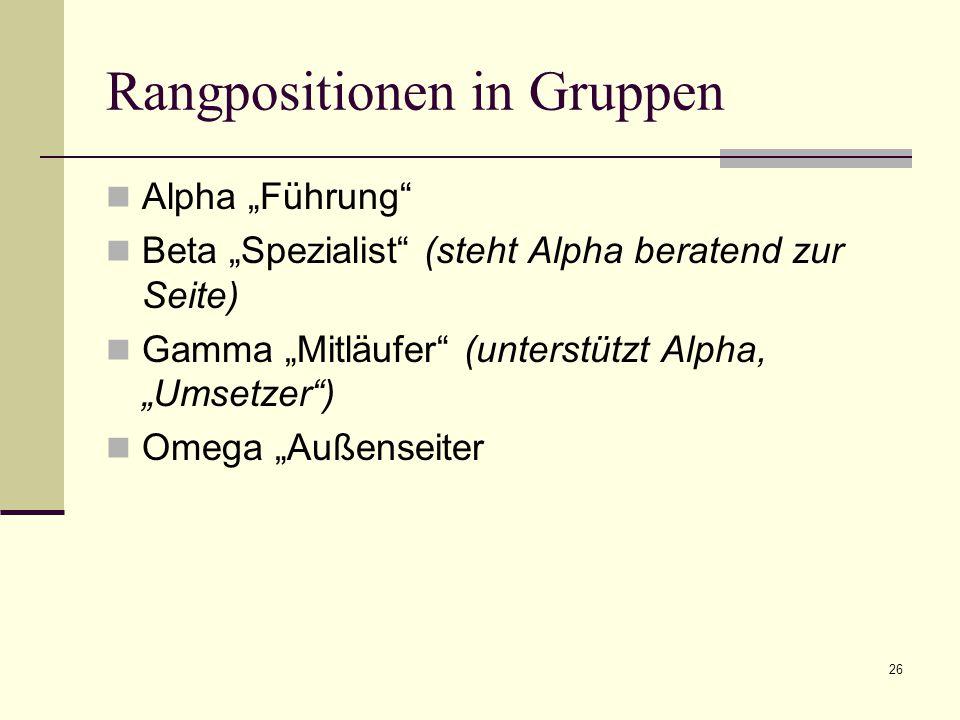 """26 Rangpositionen in Gruppen Alpha """"Führung Beta """"Spezialist (steht Alpha beratend zur Seite) Gamma """"Mitläufer (unterstützt Alpha, """"Umsetzer ) Omega """"Außenseiter"""