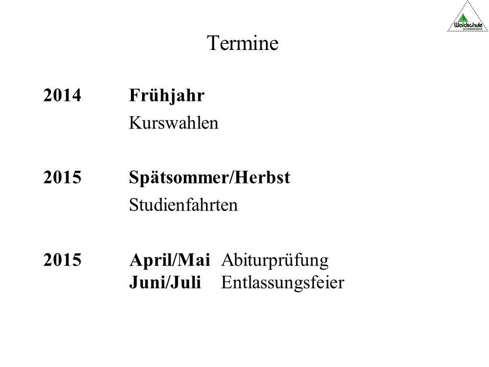 Termine 2014 Frühjahr Kurswahlen 2015 Spätsommer/Herbst Studienfahrten 2015 April/Mai Abiturprüfung Juni/Juli Entlassungsfeier
