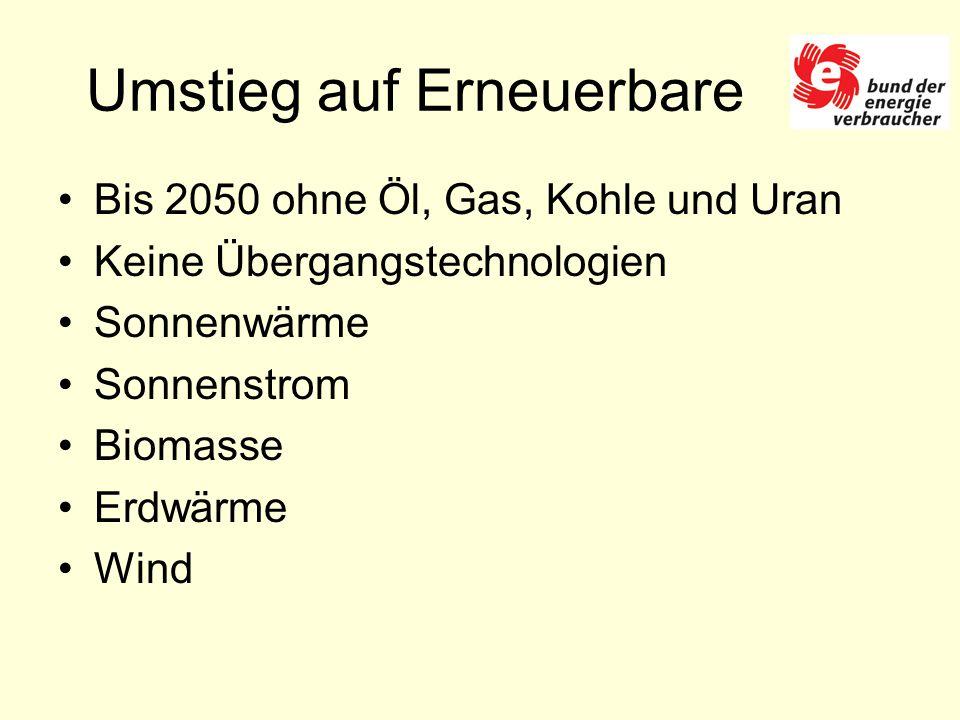 Umstieg auf Erneuerbare Bis 2050 ohne Öl, Gas, Kohle und Uran Keine Übergangstechnologien Sonnenwärme Sonnenstrom Biomasse Erdwärme Wind